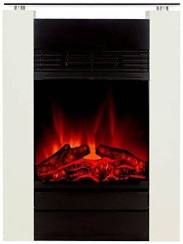 El Fuego Tessin weiß Elektrokamin mit täuschend echtem Flammeneffekt, 1800 W, 230 V - 1