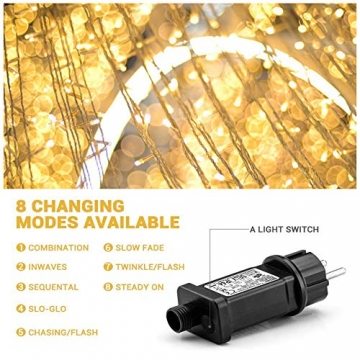 Elegear Lichterkette Außen 100M 500 LEDs Warmweiß 8 Modi LED Weihnachtsbeleuchtung Strombetrieb Weihnachten Deko für Innen Außen Neujahr Weihnachtsbaum Geburtstag Feiertag Party Hotel Garten Hochzeit - 4