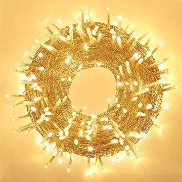 Elegear Lichterkette Außen 100M 500 LEDs Warmweiß 8 Modi LED Weihnachtsbeleuchtung Strombetrieb Weihnachten Deko für Innen Außen Neujahr Weihnachtsbaum Geburtstag Feiertag Party Hotel Garten Hochzeit - 1