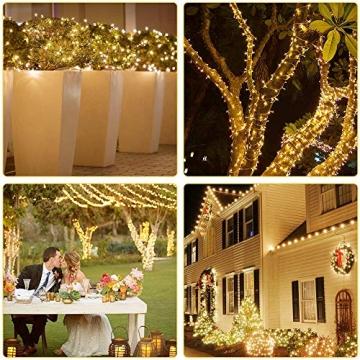 Elegear Lichterkette Außen 100M 500 LEDs Warmweiß 8 Modi LED Weihnachtsbeleuchtung Strombetrieb Weihnachten Deko für Innen Außen Neujahr Weihnachtsbaum Geburtstag Feiertag Party Hotel Garten Hochzeit - 7