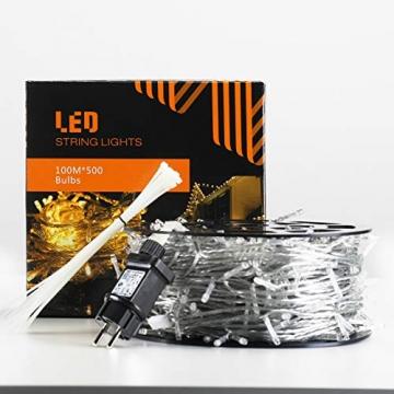 Elegear Lichterkette Außen 100M 500 LEDs Warmweiß 8 Modi LED Weihnachtsbeleuchtung Strombetrieb Weihnachten Deko für Innen Außen Neujahr Weihnachtsbaum Geburtstag Feiertag Party Hotel Garten Hochzeit - 8