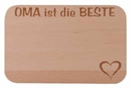 FABRIKSTORES Frühstücksbrettchen/Frühstücksbrett mit Gravur Oma Buchenholz - Abgerundete Ecken - Geschenkidee ideal für Muttertag oder andere Anlässe - Gute Qualität - 1