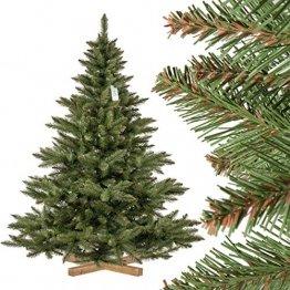 FairyTrees künstlicher Weihnachtsbaum NORDMANNTANNE, grüner Stamm, Material PVC, inkl. Holzständer, 180cm, FT14-180 - 1