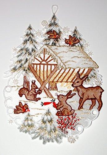 Fensterbild Plauener Spitze 20x30 cm + Saugnapf Weihnachten Advent Winter Futterkrippe REH Hase Spitzenbild Winter Advent - 3