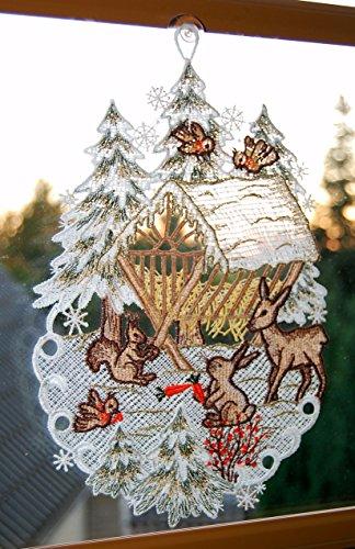 Fensterbild Plauener Spitze 20x30 cm + Saugnapf Weihnachten Advent Winter Futterkrippe REH Hase Spitzenbild Winter Advent - 4