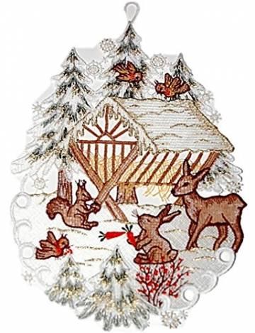 Fensterbild Plauener Spitze 20x30 cm + Saugnapf Weihnachten Advent Winter Futterkrippe REH Hase Spitzenbild Winter Advent - 1