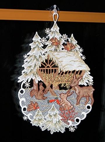Fensterbild Plauener Spitze 20x30 cm + Saugnapf Weihnachten Advent Winter Futterkrippe REH Hase Spitzenbild Winter Advent - 5