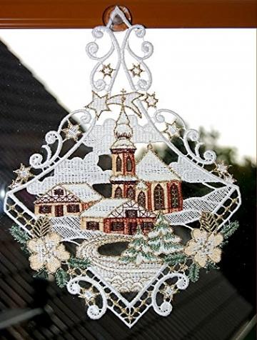Fensterbild Plauener Spitze Weihnachten 25x20 cm + Saugnapf Kirche mit Haus Dorf im Winter Braun Gold - 2