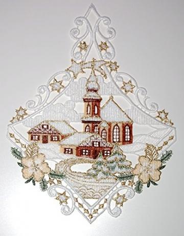 Fensterbild Plauener Spitze Weihnachten 25x20 cm + Saugnapf Kirche mit Haus Dorf im Winter Braun Gold - 3