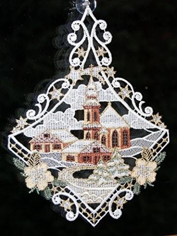 Fensterbild Plauener Spitze Weihnachten 25x20 cm + Saugnapf Kirche mit Haus Dorf im Winter Braun Gold - 4