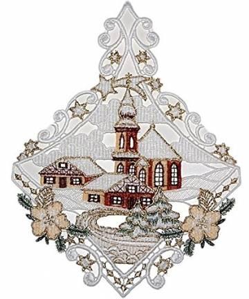 Fensterbild Plauener Spitze Weihnachten 25x20 cm + Saugnapf Kirche mit Haus Dorf im Winter Braun Gold - 1