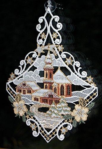 Fensterbild Plauener Spitze Weihnachten 25x20 cm + Saugnapf Kirche mit Haus Dorf im Winter Braun Gold - 5