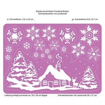 Fensterbild Weihnachten Fenstersticker Häuschen mit REH und Winterlandschaft WIEDERVERWENDBAR - 2
