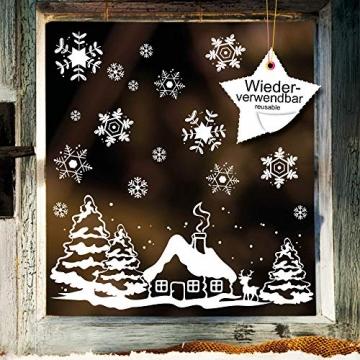 Fensterbild Weihnachten Fenstersticker Häuschen mit REH und Winterlandschaft WIEDERVERWENDBAR - 3