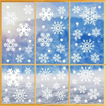 Fensterbilder Weihnachten, 228 Schneeflocken Fenstersticker, Weihnachtsdeko Fenster,Fensteraufkleber PVC Fensterdeko Selbstklebend, für Türen Schaufenster Vitrinen Glasfronten Deko - 2