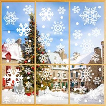 Fensterbilder Weihnachten, 228 Schneeflocken Fenstersticker, Weihnachtsdeko Fenster,Fensteraufkleber PVC Fensterdeko Selbstklebend, für Türen Schaufenster Vitrinen Glasfronten Deko - 3