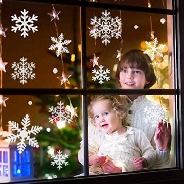 Fensterbilder Weihnachten, 228 Schneeflocken Fenstersticker, Weihnachtsdeko Fenster,Fensteraufkleber PVC Fensterdeko Selbstklebend, für Türen Schaufenster Vitrinen Glasfronten Deko - 5