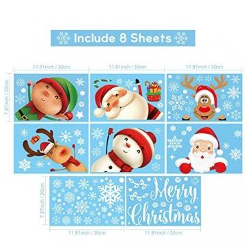 Fensterbilder Weihnachten Selbstklebend,Aivatoba Fensterdeko Weihnachten Kinderzimmer Weihnachtsmann Fensterdeko Winter Schneeflocken PVC Aufklebe Fensterbilder Weihnachten Dekoration Wiederverwendbar - 4