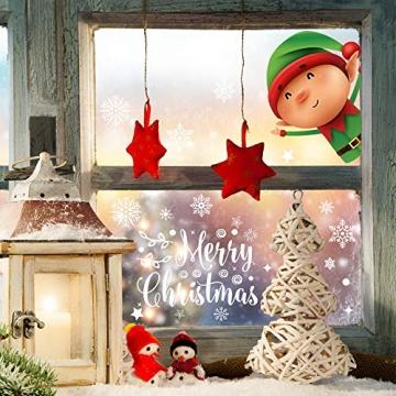 Fensterbilder Weihnachten Selbstklebend,Aivatoba Fensterdeko Weihnachten Kinderzimmer Weihnachtsmann Fensterdeko Winter Schneeflocken PVC Aufklebe Fensterbilder Weihnachten Dekoration Wiederverwendbar - 5