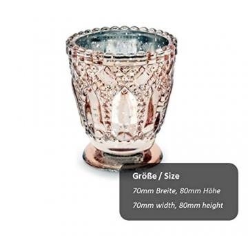 Feste Feiern Teelichthalter Castello 4er-Set Glas 8x7cm Altrosa Rose´ Kerzenhalter Windlicht Dekoration Tafel edle Tischdeko Advent - 2