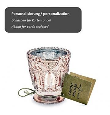 Feste Feiern Teelichthalter Castello 4er-Set Glas 8x7cm Altrosa Rose´ Kerzenhalter Windlicht Dekoration Tafel edle Tischdeko Advent - 3
