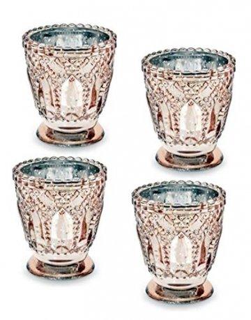 Feste Feiern Teelichthalter Castello 4er-Set Glas 8x7cm Altrosa Rose´ Kerzenhalter Windlicht Dekoration Tafel edle Tischdeko Advent - 1