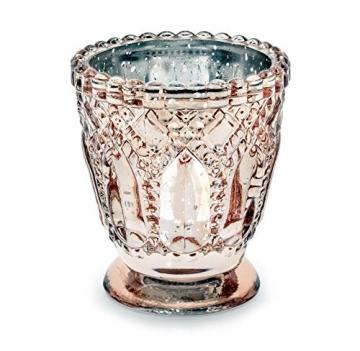 Feste Feiern Teelichthalter Castello 4er-Set Glas 8x7cm Altrosa Rose´ Kerzenhalter Windlicht Dekoration Tafel edle Tischdeko Advent - 6