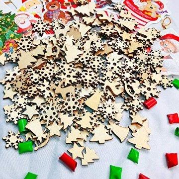 FHzytg 250 Stück Holzsterne Streudeko Weihnachten Holz, Schneeflocken Deko Sterne Holz Streuteile Weihnachten, Streuartikel Holz Weihnachten Deko Holzsterne Schneeflocken Mini - 3