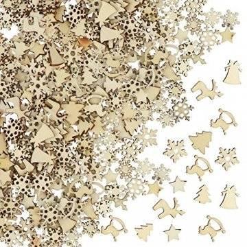 FHzytg 250 Stück Holzsterne Streudeko Weihnachten Holz, Schneeflocken Deko Sterne Holz Streuteile Weihnachten, Streuartikel Holz Weihnachten Deko Holzsterne Schneeflocken Mini - 1