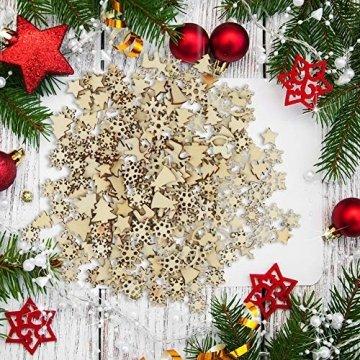 FHzytg 250 Stück Holzsterne Streudeko Weihnachten Holz, Schneeflocken Deko Sterne Holz Streuteile Weihnachten, Streuartikel Holz Weihnachten Deko Holzsterne Schneeflocken Mini - 7