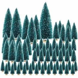 FHzytg 65 Stück Mini Weihnachtsbaum, 7 Größe Mini Tannenbaum Künstlich Kleiner Weihnachtsbaum Künstlich Klein, Mini Christbaum Tannenbaum Klein mit Ständer für Tischdeko - 1