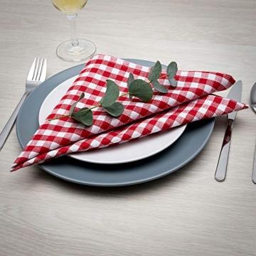 FILU Servietten 8er Pack Rot/Weiß kariert (Farbe und Design wählbar) 45 x 45 cm - Stoffserviette aus 100% Baumwolle im skandinavischen Landhausstil - 2