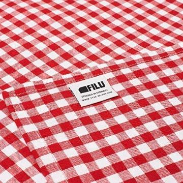 FILU Servietten 8er Pack Rot/Weiß kariert (Farbe und Design wählbar) 45 x 45 cm - Stoffserviette aus 100% Baumwolle im skandinavischen Landhausstil - 4