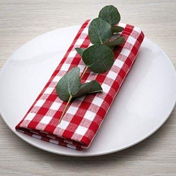 FILU Servietten 8er Pack Rot/Weiß kariert (Farbe und Design wählbar) 45 x 45 cm - Stoffserviette aus 100% Baumwolle im skandinavischen Landhausstil - 1
