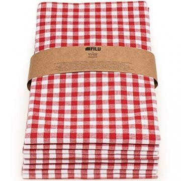 FILU Servietten 8er Pack Rot/Weiß kariert (Farbe und Design wählbar) 45 x 45 cm - Stoffserviette aus 100% Baumwolle im skandinavischen Landhausstil - 7
