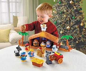Fisher-Price J2404 - Little People Weihnachtskrippe Geschenkset, mit 12 Figuren und 5 Zubehörteilen, ab 12 Monaten - 2