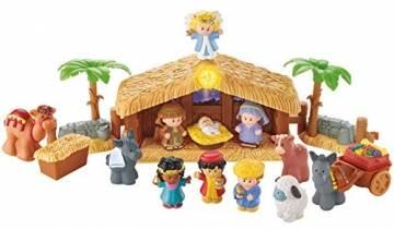 Fisher-Price J2404 - Little People Weihnachtskrippe Geschenkset, mit 12 Figuren und 5 Zubehörteilen, ab 12 Monaten - 1