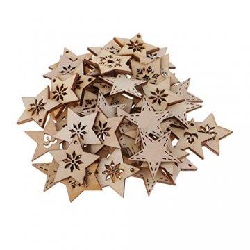 FLAMEER 50 Stück Holz Sternformen Schneeflocke Holzscheiben Tischdekoration Holz Deko Basteln Weihnachtsdeko - natürlich, 30 mm - 3