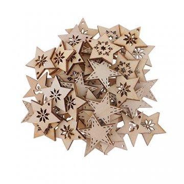 FLAMEER 50 Stück Holz Sternformen Schneeflocke Holzscheiben Tischdekoration Holz Deko Basteln Weihnachtsdeko - natürlich, 30 mm - 1