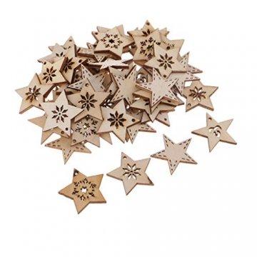 FLAMEER 50 Stück Holz Sternformen Schneeflocke Holzscheiben Tischdekoration Holz Deko Basteln Weihnachtsdeko - natürlich, 30 mm - 7