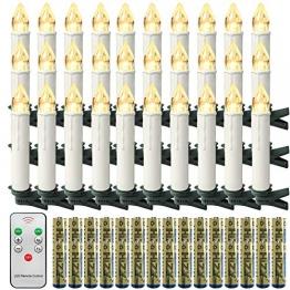 Froadp LED Flammenlose Baumkerzen Warmweiß Mini Weihnachtskerzen Batteriebetriebene Kerzen Satz Christbaumkerzen mit Fernbedienung Kabellos und Clips (30er Pack) - 1