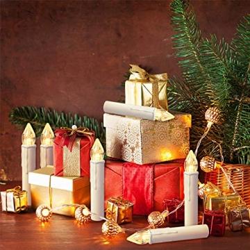 Froadp LED Flammenlose Baumkerzen Warmweiß Mini Weihnachtskerzen Batteriebetriebene Kerzen Satz Christbaumkerzen mit Fernbedienung Kabellos und Clips (30er Pack) - 8