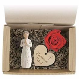 Geschenkset 3-teilig/Trauer/Beileid/Willow Tree Figur/Long Life Rose/Holzherz mit Gravur - 1
