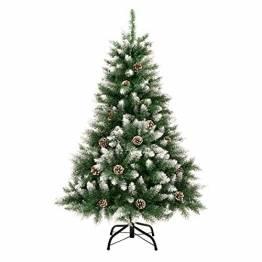 GIGALUMI 1.2M künstlicher Weihnachtsbaum mit Schnee und echten Tannenzapfen feuerfester Tannenbaum, inkl. Christbaum Ständer - 1