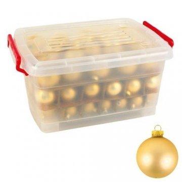 Glas-Weihnachtskugel-Set 72tlg + Box Weihnachtsbaumkugeln Christbaumschmuck Deko, Farben:Gold - 2