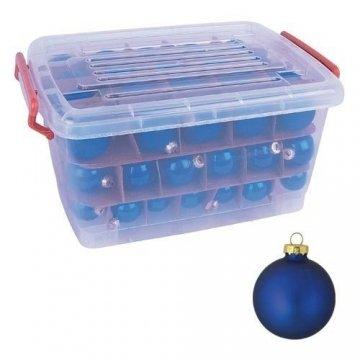 Glas-Weihnachtskugel-Set 72tlg + Box Weihnachtsbaumkugeln Christbaumschmuck Deko, Farben:Khaki grau - 3