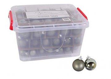 Glas-Weihnachtskugel-Set 72tlg + Box Weihnachtsbaumkugeln Christbaumschmuck Deko, Farben:Khaki grau - 4