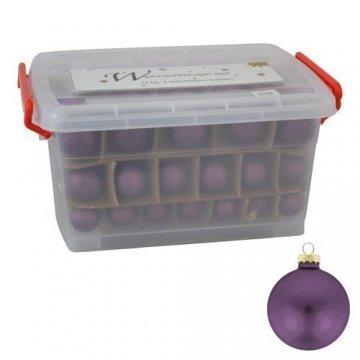 Glas-Weihnachtskugel-Set 72tlg + Box Weihnachtsbaumkugeln Christbaumschmuck Deko, Farben:Khaki grau - 5