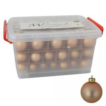 Glas-Weihnachtskugel-Set 72tlg + Box Weihnachtsbaumkugeln Christbaumschmuck Deko, Farben:Khaki grau - 6