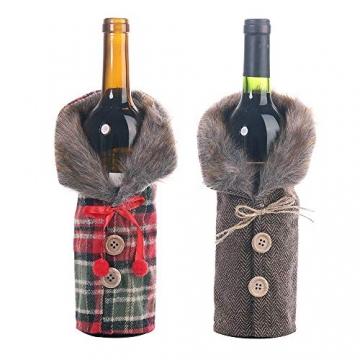 Gleisnut Neue Weihnachtstischdekoration Flasche Rotwein Flasche Sätze Plaidrock gestreift setzt 3PCS / LOT (Color : A, Size : 24 * 12cm) - 2